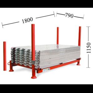 contenitore porta pedane metalliche per ponteggio con montanti zincati