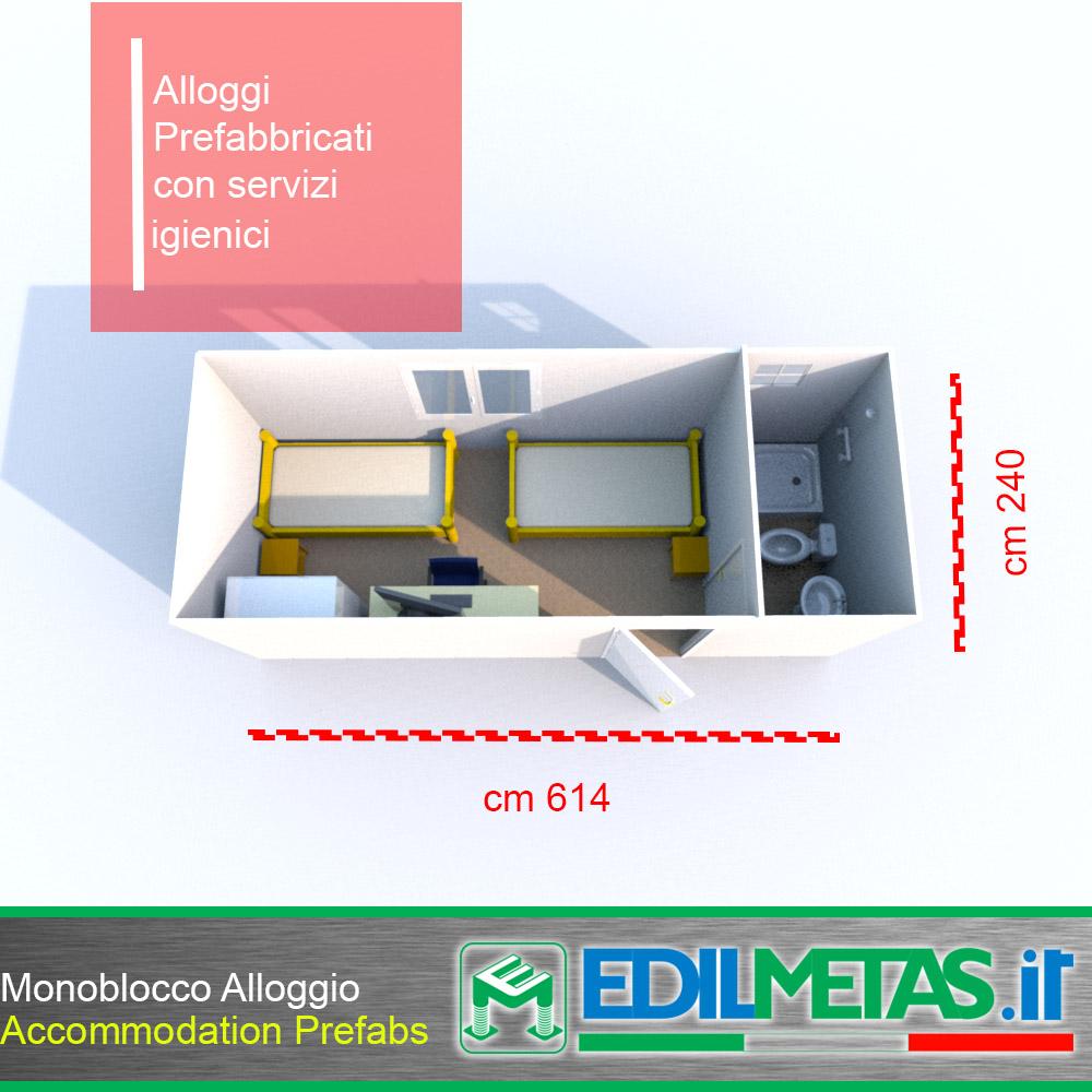 Alloggio operai Casa prefabbricata modulare realizzata con monoblocchi coibentati prefabbricati