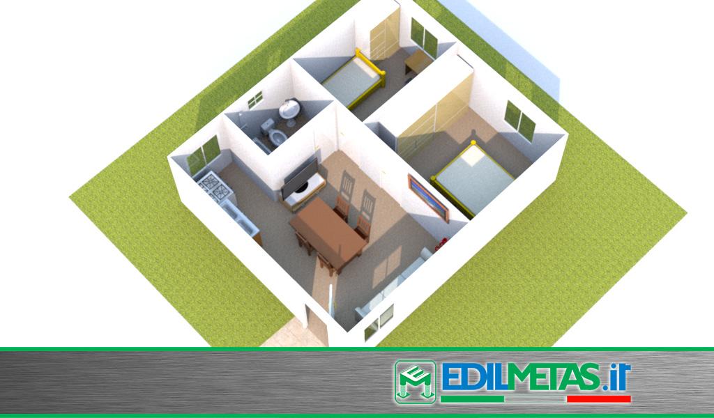 Casa prefabbricata modulare composta da tre monoblocchi coibentati accoppiati sul posto