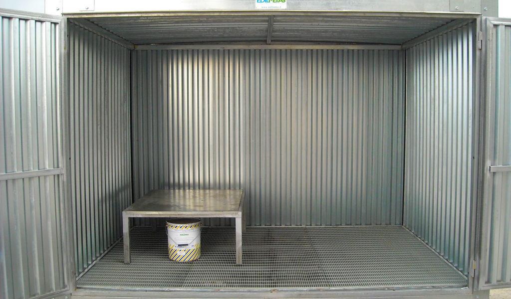 container deposito per rifiuti pericolosi fusti bombole e verinci