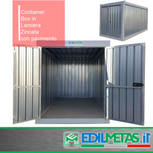 Container Box in lamiera zincata, ideale per rimessaggio attrezzature.
