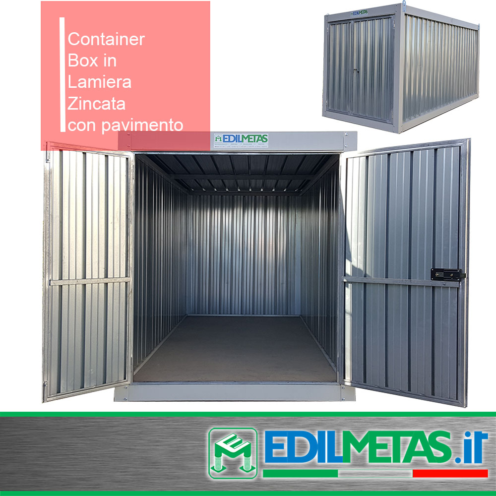 Container Box in lamiera zincata, ideale per rimessaggio attrezzature.