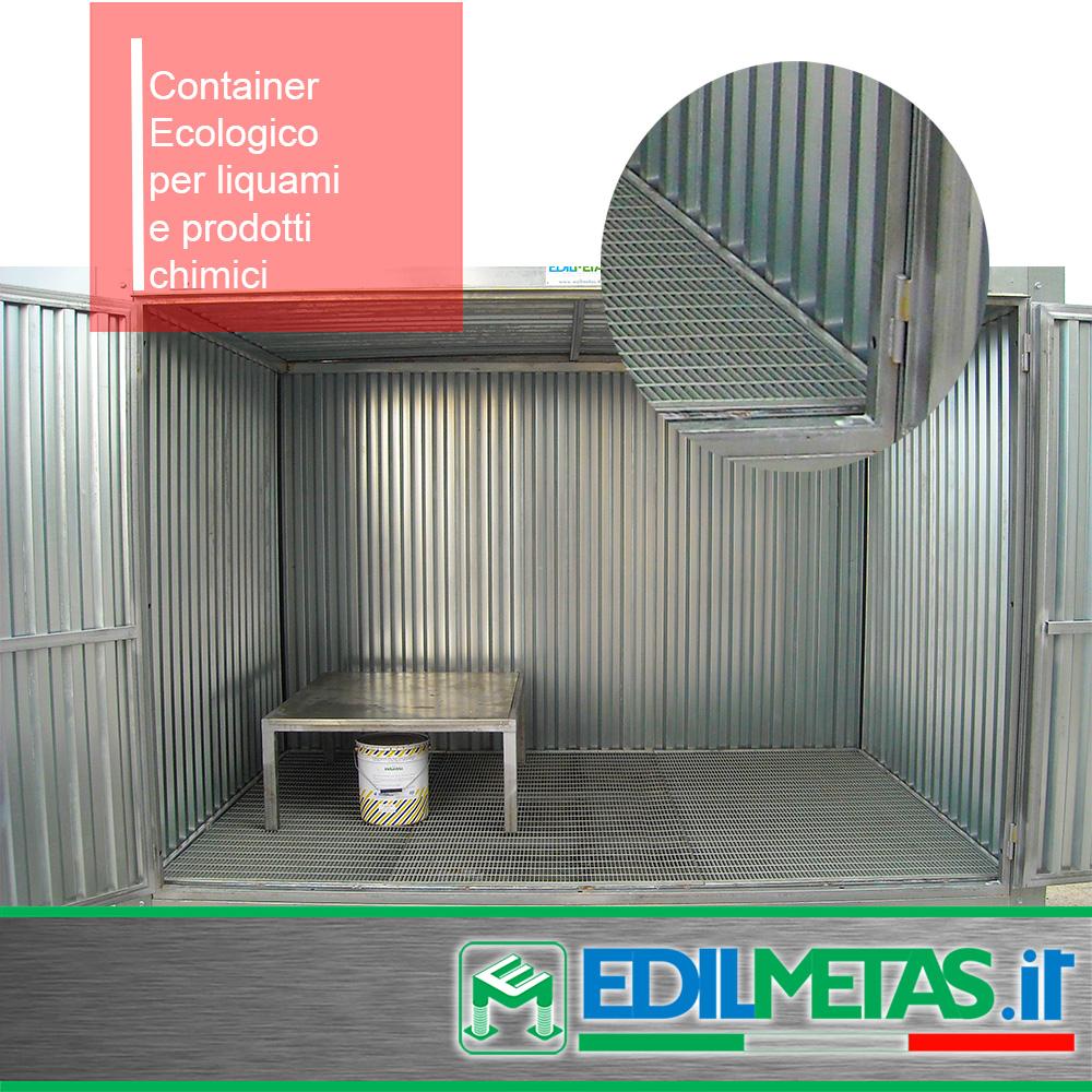 Container ecologico per liquami e prodotti chimici realizzato in lamiera zincata
