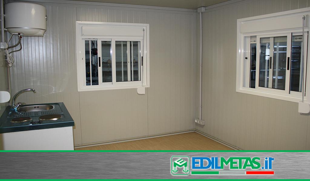 Prefabbricati coibentati misure personalizzabili con finestre, cucine e tapparelle