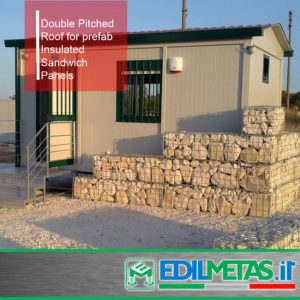 Double pitched roof for prefabricated house in kit