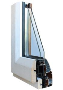 profilo in legno alluminio colore bianco legno