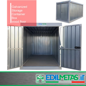 Galvanised metal steel container box for storage, flat pack available