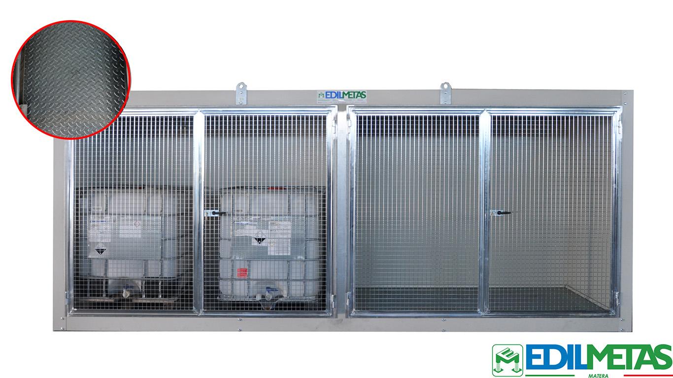 container per cisterne con lamiera bugnata