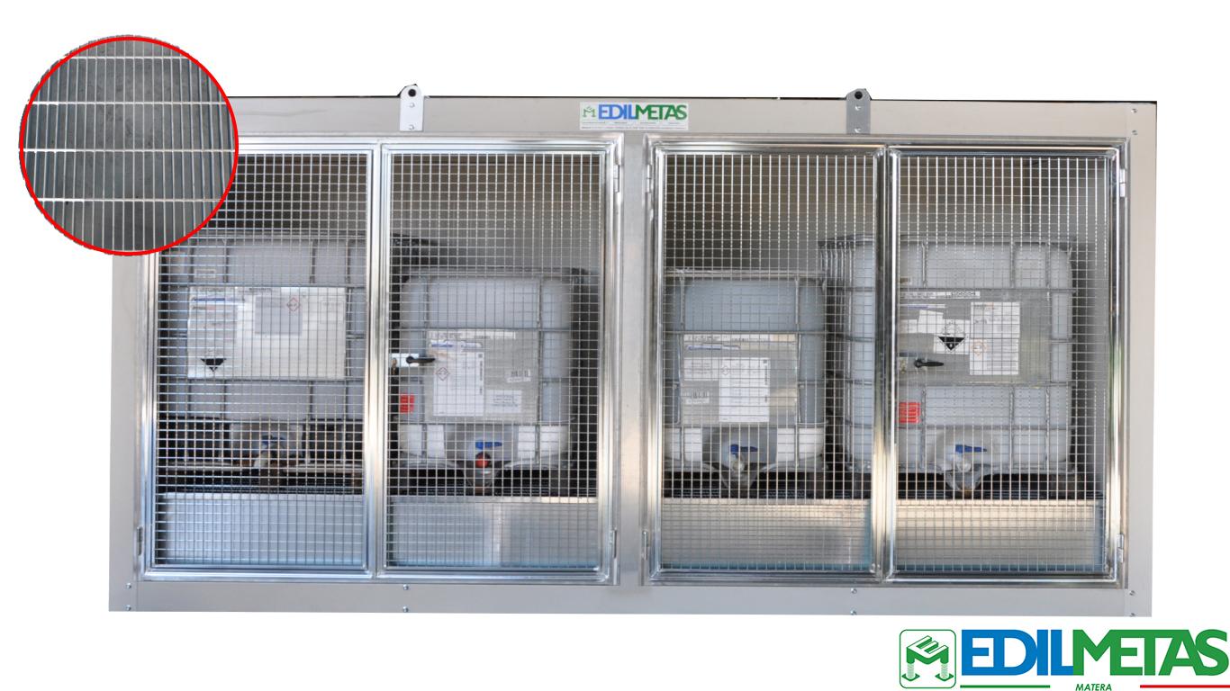 container con vasca di raccolta reflui e liquami