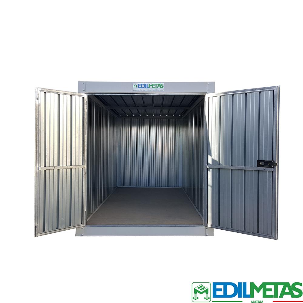 Container box in lamiera da cantiere per deposito attrezzi