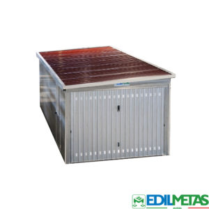 prefabricated garage box with insulated panels and tilt door in flat pack